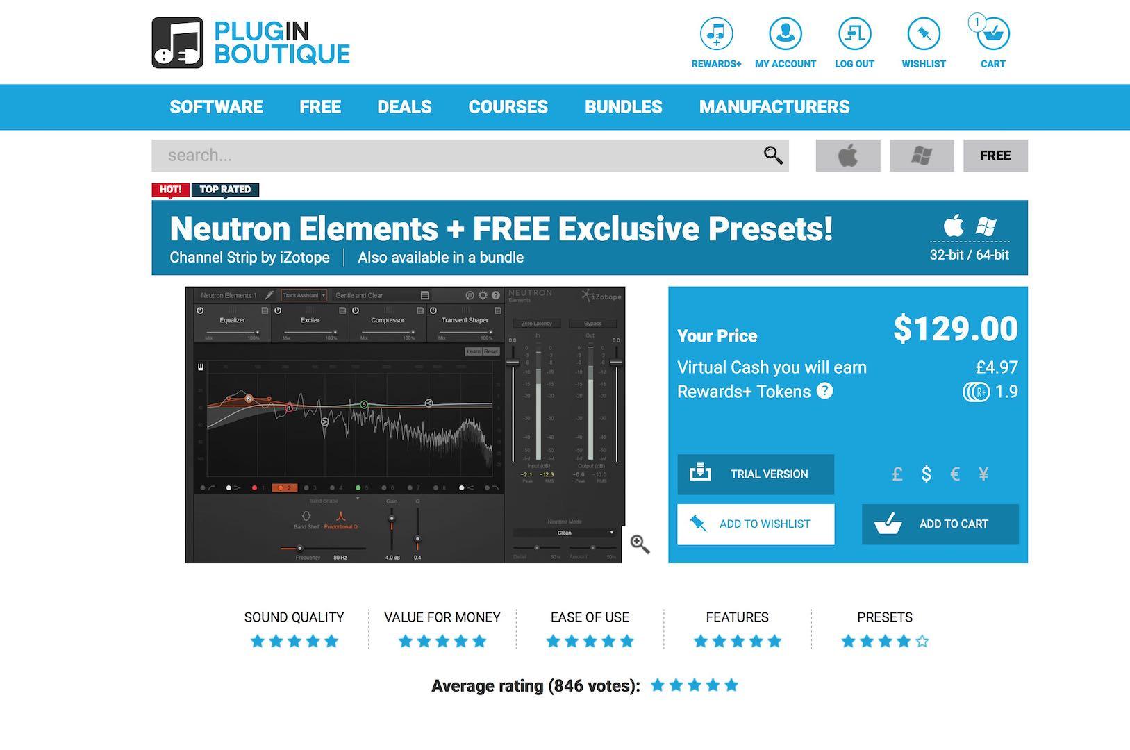 plugin boutiqueで買い物をするとizotope neutron elementsがタダで